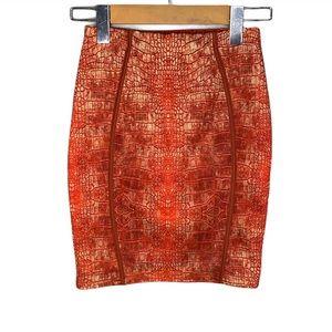 Pretty Little Thing Orange Snake-print Mini Skirt